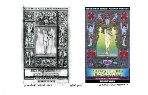 - Woodstock Early Unpublished Version Poster + Original Concept Sketch Artist Proof Hand Signed By Illustrator David Byrd