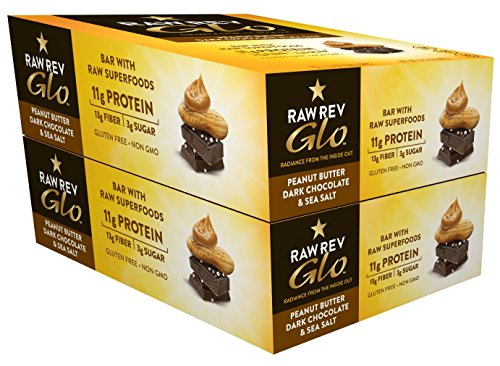 Raw Rev Glo Vegan, Gluten-Free Protein Bars - Peanut Butter Dark Chocolate & Sea Salt 1.6 ounce (Pack of 24) by Raw Rev Glo (Image #1)