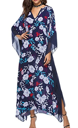Sleeve Dress Maxi Loose Ethnic Women Batwing 2 Long Jaycargogo V Casual Print Neck P0xnBSq