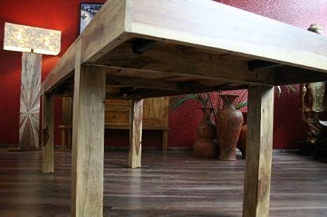 Mesa de comedor, ampliable, maciza, madera, 160 x 90/240 x 90, Bali, mesa de cocina, madera, color: Amazon.es: Hogar