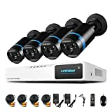 H.View 8 channel 1080P Home Security Camera System, 8CH 1080N CCTV DVR Recorder With 4Pcs 2.0MP 1080P Weatherproof CCTV Cameras,Support Smart Recording and Playback,(NO Hard Drive)