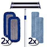 6-Piece Deluxe Mop Set; Includes Adjustable 72' Pole, 18' Base with Lock, Two Microfiber Wet Mops and Two Microfiber Dust Mops