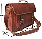 Silkroute Craft 16 Inch Vintage Handmade Leather Messenger Sturdy Bag for Laptop Briefcase Satchel Bag 16x12x5 Inches Brown