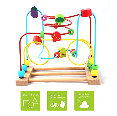 [US CPSC Certified] BATTOP Wooden Bead Roller Coaster First Bead Maze for Kids