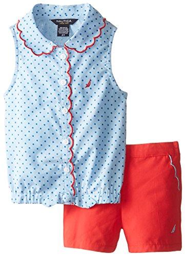 Nautica Little Girls' Printed Oxford Shirt and Short, El Light Blue, 3T