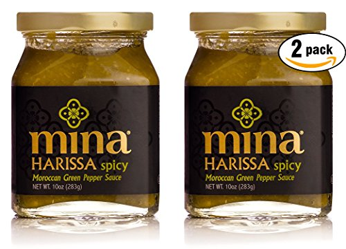 Mina Green Harissa Pepper Sauce, Kosher - 10 oz Jar, (Pack of 2, Total of 10 Oz) -