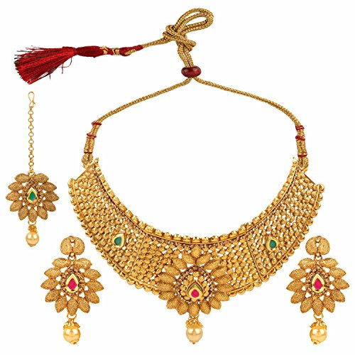 Efulgenz Indian Bollywood Traditional Gold Plated Faux Ruby Emerald Bridal Choker Necklace and Earrings Jewelry Set with Maang Tikka for Women