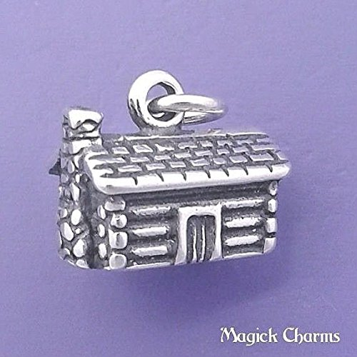 925 Sterling Silver 3-D Log Cabin House Mountain Home Charm Pendant Jewelry Making Supply, Pendant, Charms, Bracelet, DIY Crafting by Wholesale Charms - House Italian Charm