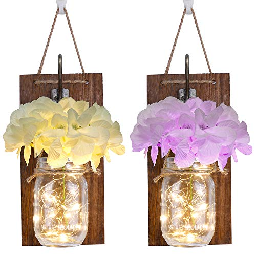 Rustic Wall Sconces,Mason Jar Lights, Rustic Home Decor with Wrought Iron Hooks, Silk Hydrangea and LED Strip Lights Design for Home Decoration(Set of 2)