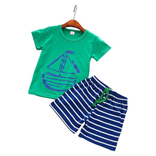 Hot Sale ! Boys Clothes,Kstare Summer Casual Cartoon T-Shirt +Beach Shorts Pants (100/3T, Blue)