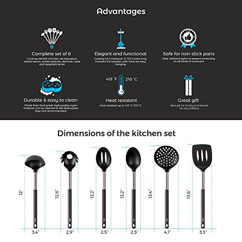 Kitchen Utensil - 6 Best Kitchen Utensils Set - Black Nylon Cooking Utensils - Kitchen Tools Gadgets.