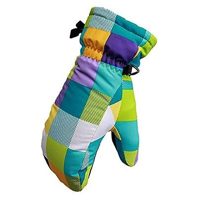 Eastlion Children's Fashion Colorful Lattice Ski Gloves Windproof Warm Breathable Winter Thickening Mittens