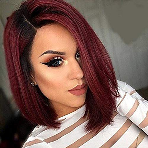 MISSWIG Female Wigs Relistic Looking Wine Red Synthetic Side Part Hair Short Bob Ombre Black To Red Full Wigs for Women