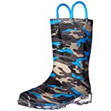 Western Chief Boys' Kids Camo Light-up Rain Pull-on Boot, Charcoal/Blue, 10 M US Toddler