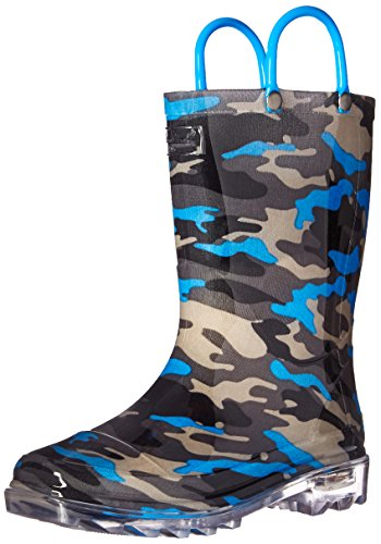 [Western Chief Boys' up Waterproof Rain Pull-on Boot, Camo Blue Lighted, 13 M US Little Kid] (Boots For Boys)