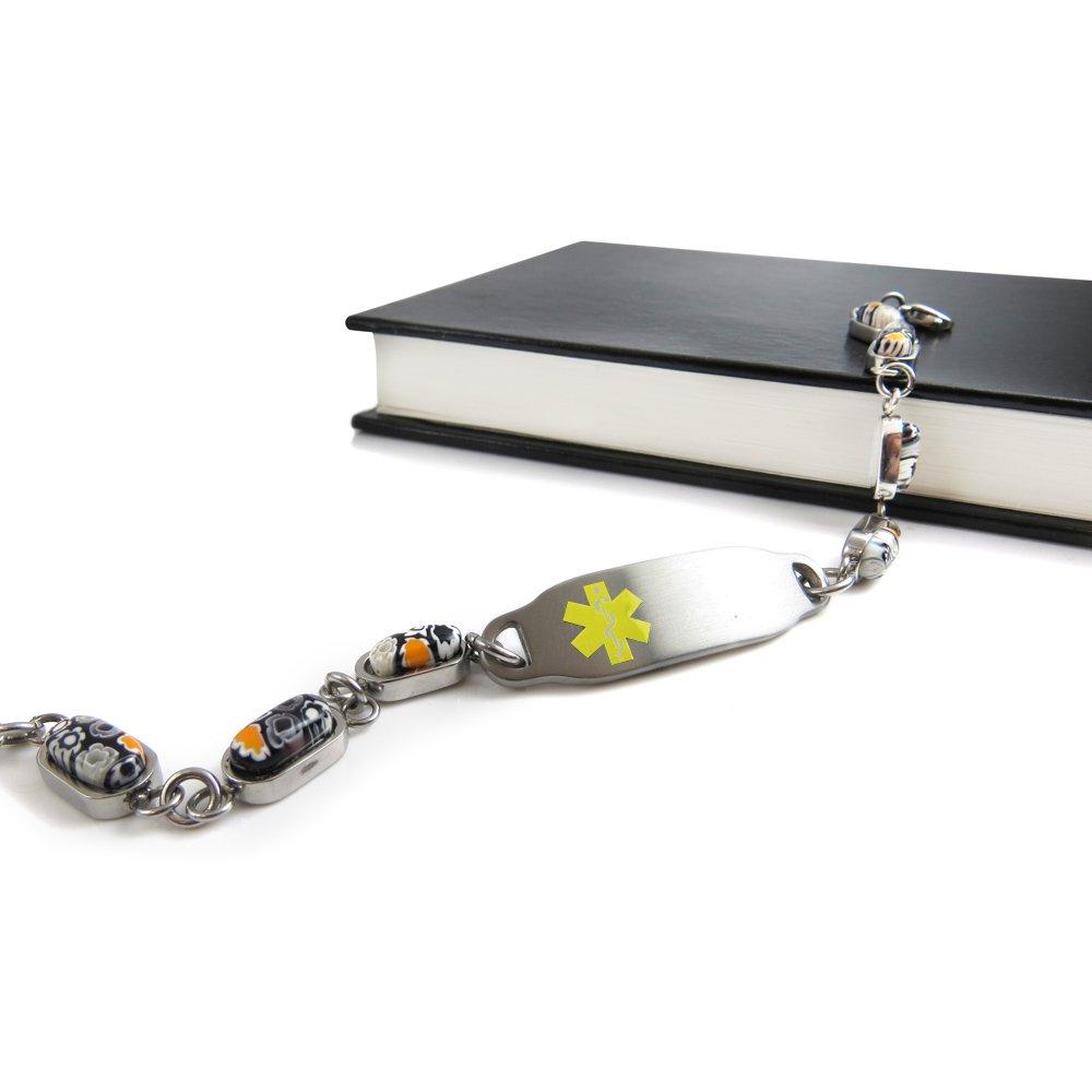 Black//White Millefiori Glass Pre-Engraved /& Customized Emphysema Medical Alert Bracelet My Identity Doctor Yellow