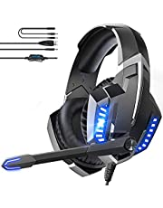 Ghavii Gaming Headset,Noise Cancelling Over Ear Headphones with Mic for P4 Pc Xbox One Switch Mobile Devices,Belt LED Light Bass Surround,Soft Memory Earmuffs for Laptop