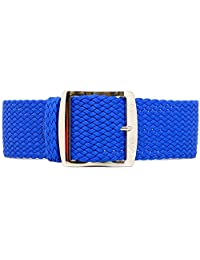 DaLuca Braided Nylon Perlon Watch Strap - Blue (Polished Buckle) : 20mm