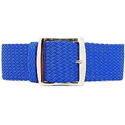DaLuca Braided Nylon Perlon Watch Strap - Blue (Polished Buckle) : 18mm