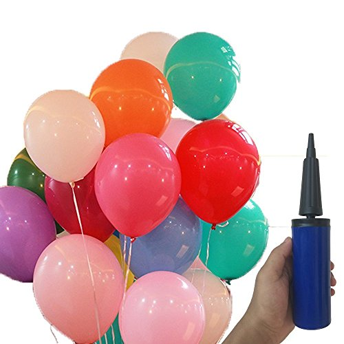 Assorted Colours Latex Balloons (Balloons With Hand Pump - 100pcs 12 Inch Randomly Assorted Colors Latex Balloons)
