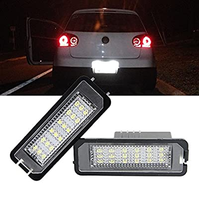 VW Led License Plate Light Bulb - NSLUMO LED Number Plate Light 12V Canbus Xenon White For Volkswagen VW Beetle Golf 4 5 6 GTi MK4 MK5 CC Rabbit Eos Phaeton (VW Golf 4 5 6 GTi MK4 MK5 CC): Automotive