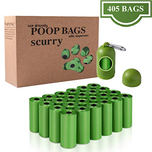 scurry Dog Waste Bags, 27 Rolls/405 Count Thick and Strong Dog Poop Bags with Bag Dispenser, Disposable Pet Poop Bags for Pet Waste
