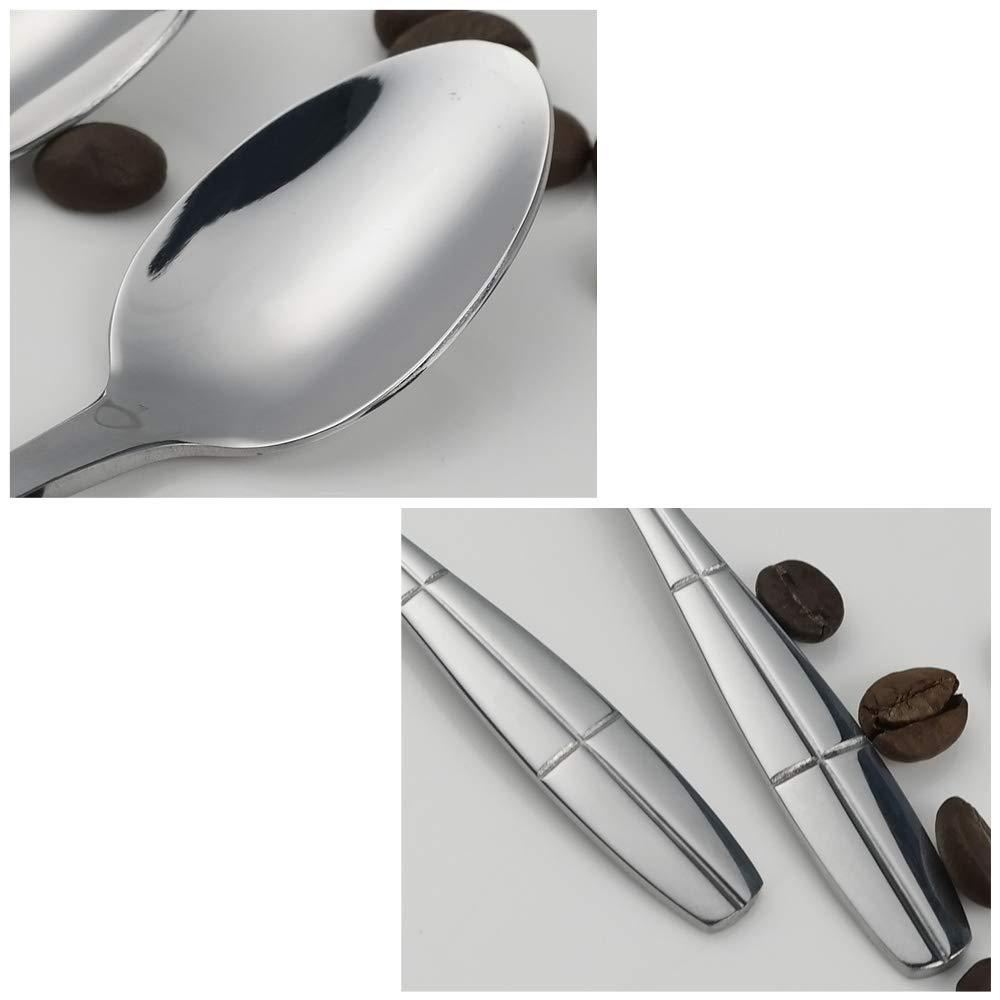 Ikando Lot de 12 petites cuill/ères /à caf/é en acier inoxydable Motif ellipse