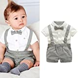 Software : Kstare Baby Boys Outfits Gentleman Bowtie Short Sleeve Shirt+Suspenders Shorts Clothes Set (6-12M, Gray)