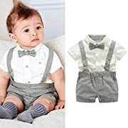 Kstare Baby Boys Outfits Gentleman Bowtie Short Sleeve Shirt+Suspenders Shorts Clothes Set (0-6M, Gray)