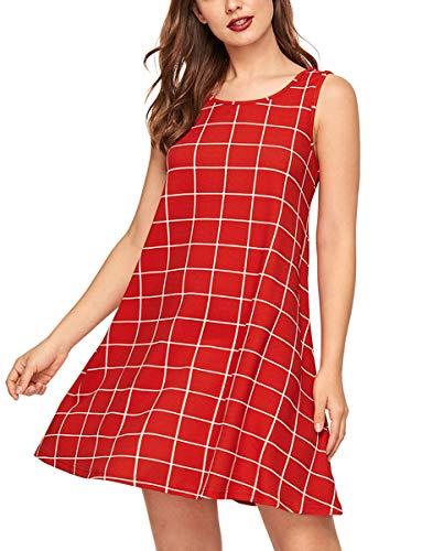 727ce0566de Romwe Women s Tank Dress Sleeveless Summer Loose Casual Swing T-Shirt  Dresses