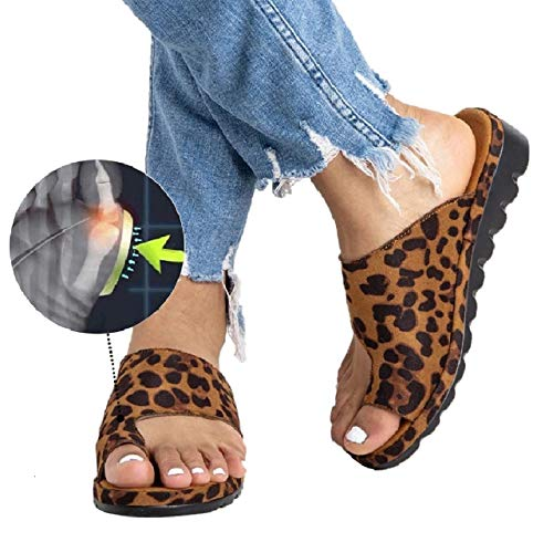 Womens Platform Sandals Summer Flip Flops Slide Sandals Casual Toe Ring Sandal Flats LEOPARD42 (9)
