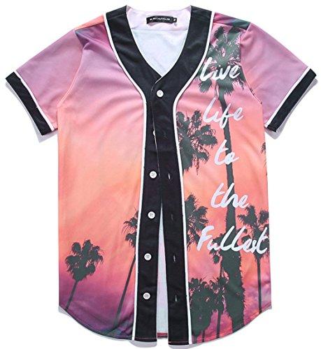 Gold Glove 2 Baseball Display (HOP FASHION Youth Unisex Boy Girl Baseball Jersey Short Sleeve 3D Beach Tree Print Dance Team Uniform Tops Shirt HOPM007-02-S)
