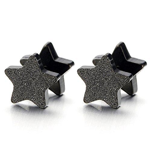Estrella Negro Satinado Enchufe falso Fake Plug, Pendientes de Hombre Mujer, Aretes, Acero Inoxidable, 2 Piezas: Amazon.es: Joyería