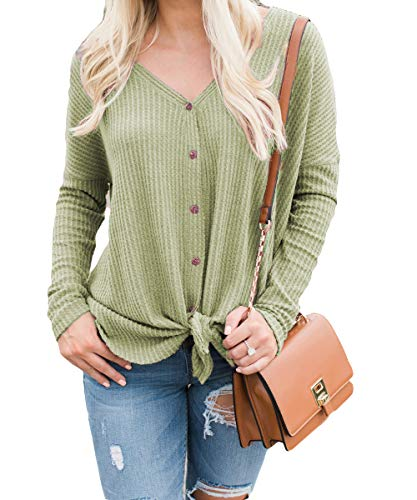 Smile fish Womens Henley Shirts Long Sleeve Blouse Front Knot V Neck Button Down Loose Tunic Tops ()