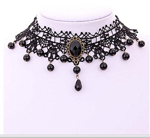 (Gothic Style Laced Black Collar / Collier / Choker Necklace With Beads / Pearls Dangles / Pendants, Embellished With Big Black Resin Crystal In Ornamented Bronze Mounting By VAGA)