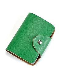 MuLier Soft Leather Case Wallet Bag Holder for 26 Credit Cards Green