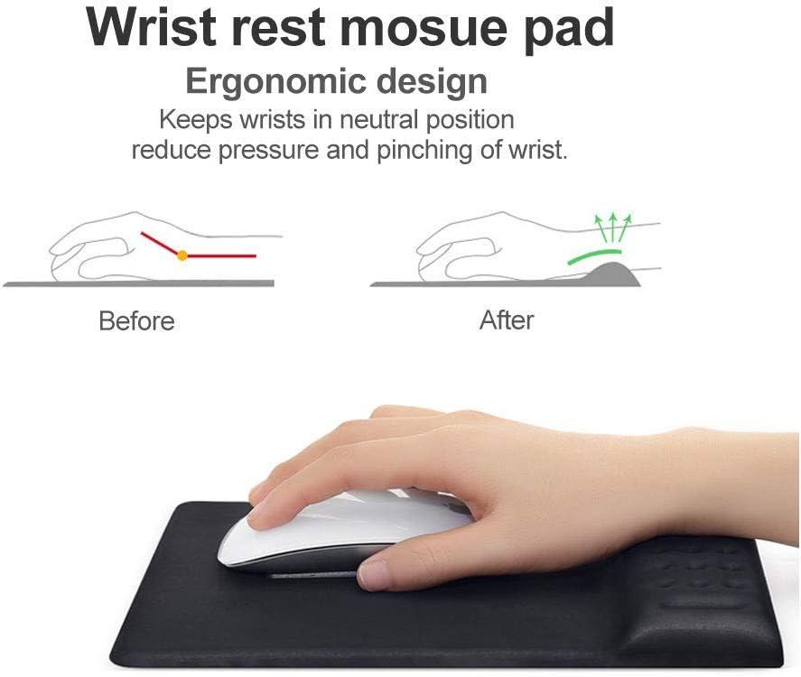 Office /& Travel Black Home Memory Foam Mousepad Soft Comfortable Wrist Rest Support Square Mouse Mat Non-Slip PU Base for Computer SUN RAIN Mouse Pad with Wrist Rest Laptop