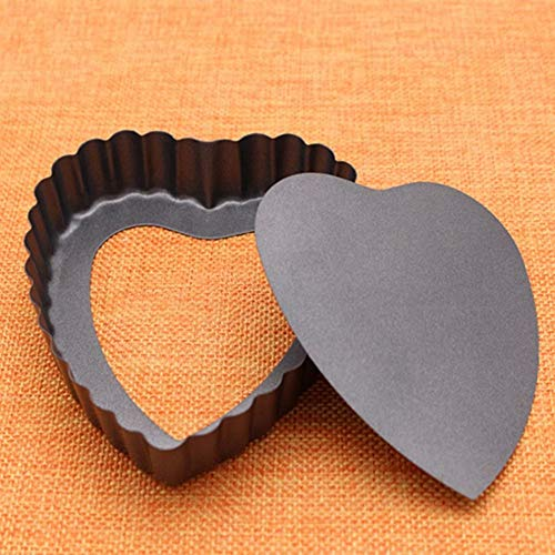 1 piece Heart Shape Laced Quiche Pan Nonstick Pie Pan Bakeware With Removable Bottom Easy Release Cake Decor Mould DIY Baking Tools