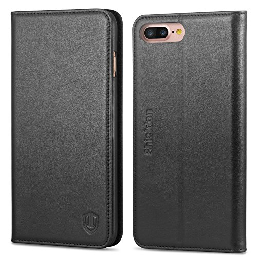 iPhone 7 Plus Case, SHIELDON Genuine Leather iPhone 7 Plus Wallet Case Book Design with Flip Cover and Stand [Credit Card Slot] Magnetic Closure Case for iPhone 7 Plus - Black