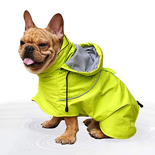 EVELOVE Large Dog Rain Jacket Poncho Waterproof Clothes with Hood Extreme Warmer Dog Winter Coat for Small Medium Large Pet (XS, Green#2) ()
