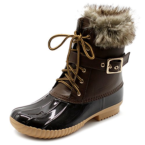 Brown Faux Fur Boots (Ollio Women Shoe Lace Up Faux Fur Buckled Duck Boots DCK01 (9 B(M) US,)