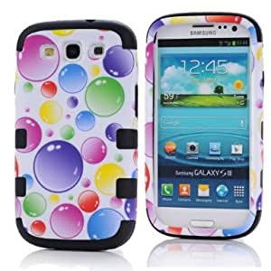 SHHR-HXSIII50N Plastic+Silicone Colorful Rainbow Bubbles Design Hybrid case for Samsung Galaxy III S3 i9300 - Black Color