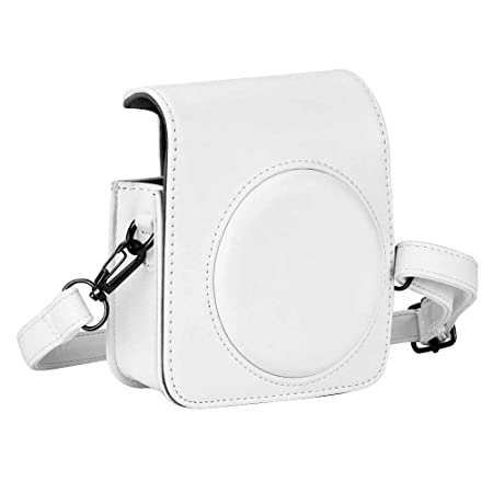 CAIUL Instax Mini 9 / Mini 8 Carry Camera Case Bag With Shoulder Strap, PU Leather, White Camera Cases