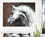 Design Art Gray Arabian Horse Watercolor Abstract Canvas Art Print