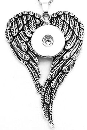 Pendant Interchangeable DIY Ginger Snaps Angel Wings Filigree fit for 18mm Snap Button
