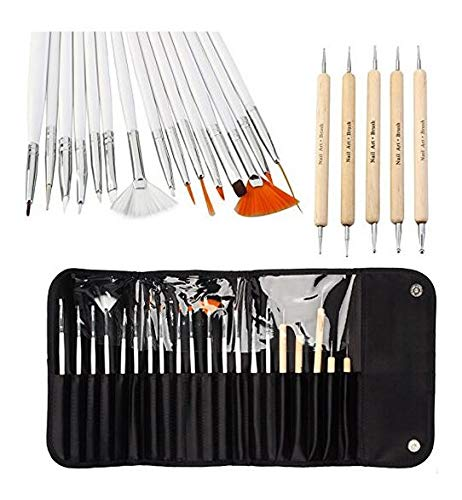 Nicedeal 20pcs Nail Art Designing Painting Dotting Detailing Pen Brushes Bundle Tool Kit Make-up Tools and Brushes for Beauty