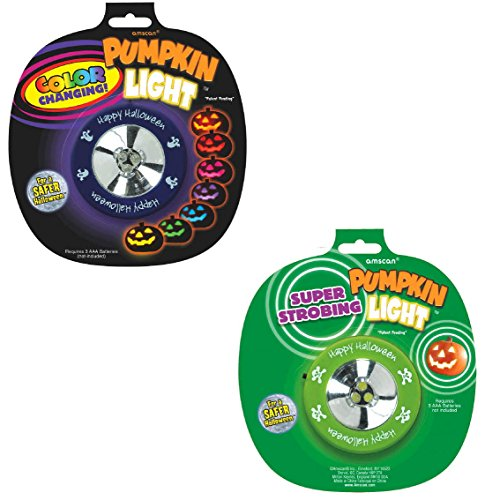 2 Pack Pumpkin Color Changing and Strobe Light Halloween ~ Trick or Treat Party Pumpkin Carving Decoration