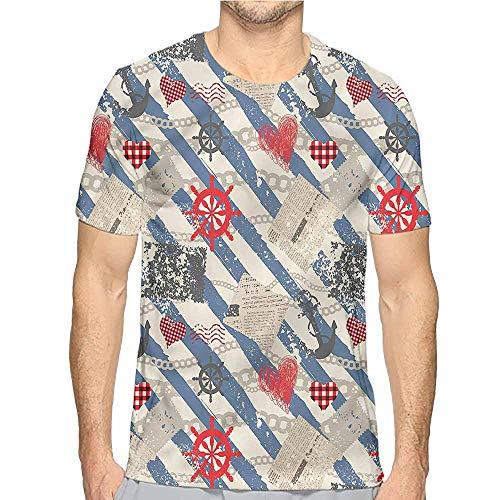 Jinguizi Funny t Shirt Nautical,Grunge Wheel Heart Men's and Women's t Shirt S ()
