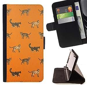 BullDog Case - FOR/Sony Xperia m55w Z3 Compact Mini / - / house cat kitten orange pattern cute /- Monedero de cuero de la PU Llevar cubierta de la caja con el ID Credit Card Slots Flip funda de cuer
