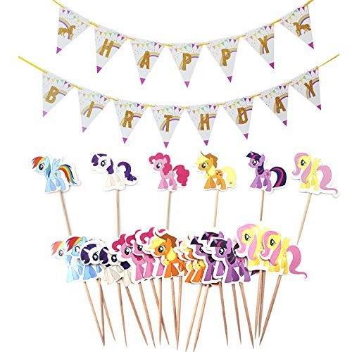 Unicorn Party Supplies Happy Birthday Banner Pennant with Cupcake Toppers Picks For Kids Girl Party Favors by Ateman
